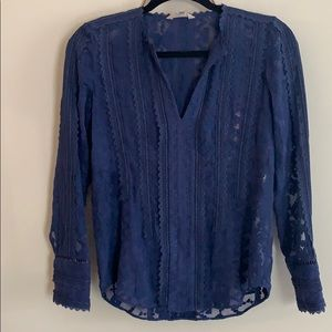 Rebecca Taylor 0 xs/s lace blue embroidered top